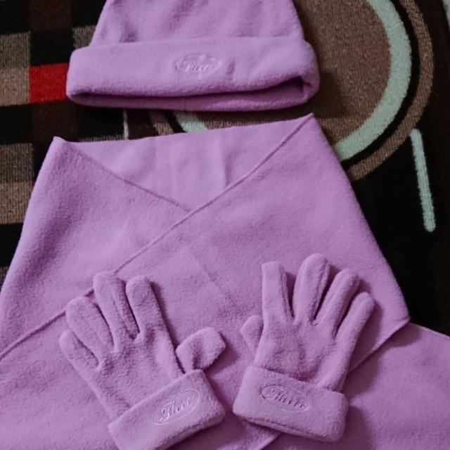 [二手]女童帽子圍巾手套保暖組