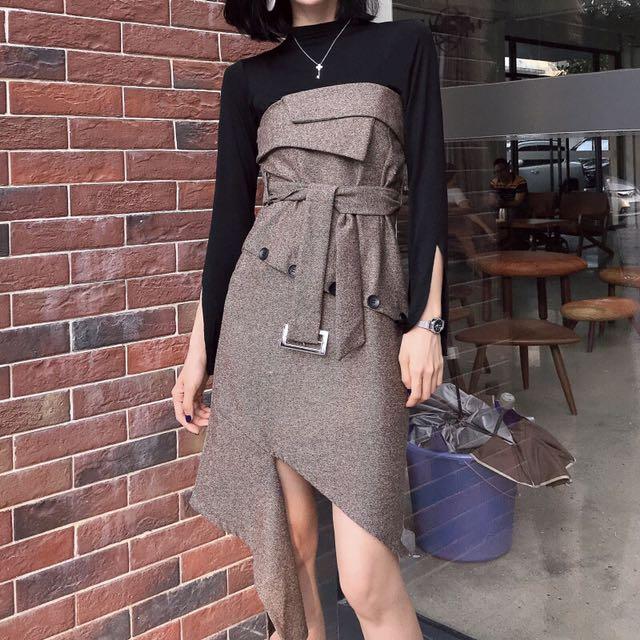 套裝💕秋冬新款開叉喇叭袖打底衫上衣+抹胸呢子連衣裙不規則氣質套裝女
