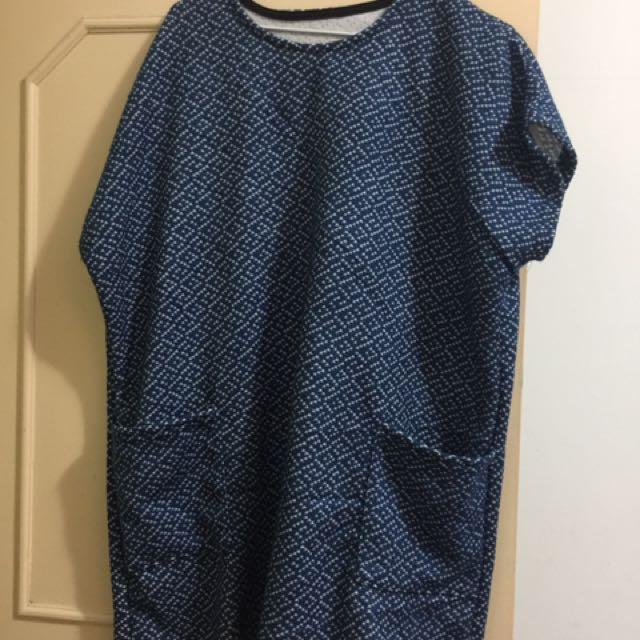 二手_大尺碼藍色短袖毛料長版上衣2XL號