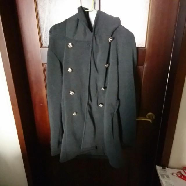 毛呢排扣大衣外套 附綁帶