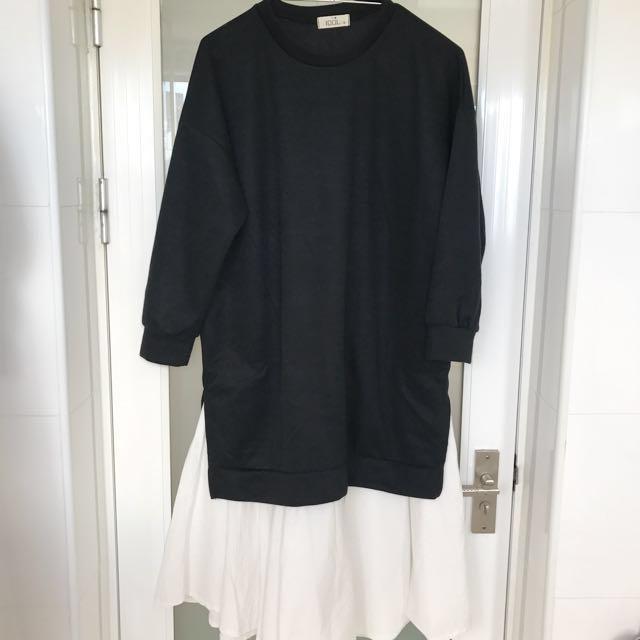 秋冬季韓版時尚假兩件拼接開叉休閒洋裝 全新品