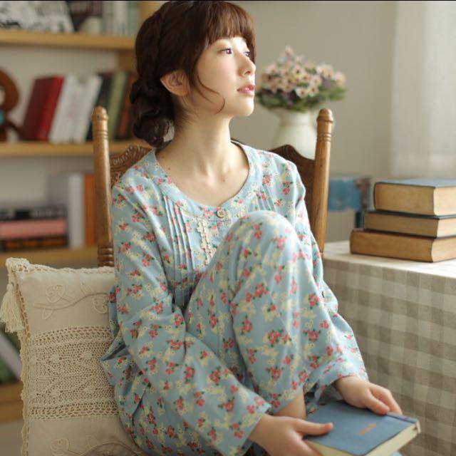 日系🎏復古蕾絲純棉睡衣套裝 預購
