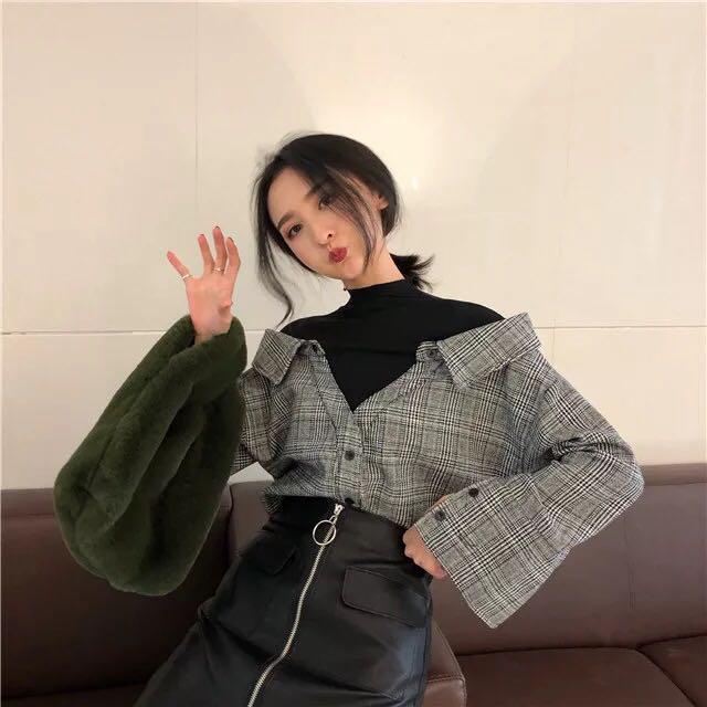 半高領套頭襯衫女 秋冬新款寬松長袖打底襯衣 chic撞色假兩件上衣