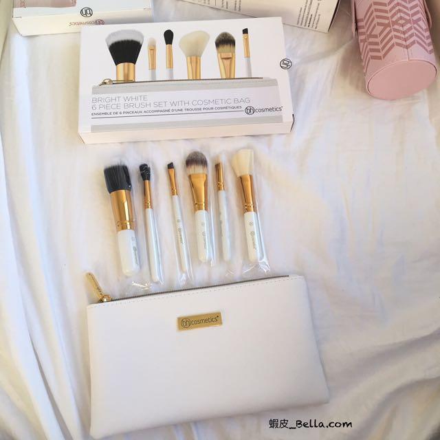 美國代購🇺🇸 BH COSMETICS 白色刷具組 付化妝包 刷具包 刷具 化妝刷子 六件組 6件組 禮物