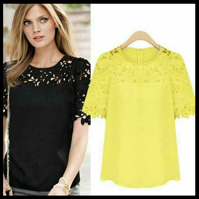 🎄 New! Sale Price!  🎁 Great Gift Idea   Php380 only Elegant Embroidered Lace Chiffon Top 📍Available in 3 Colors: Yellow/Black/White 📍Freesize: Fits Medium to Semi Large  📍Pre-order