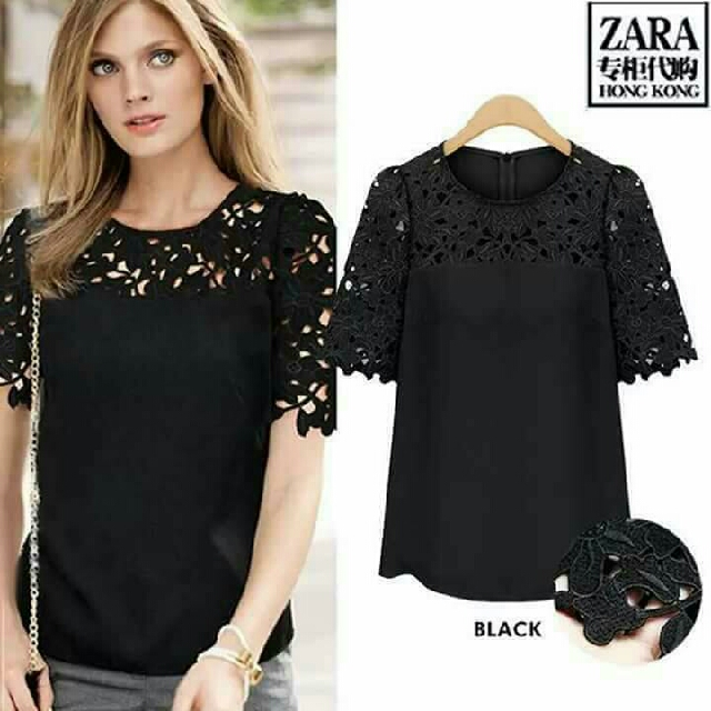 🎄 New! Sale Price!  🎁 Great Gift Idea   Php380 only  Zara Inspired Lace Design Top  📍Textured Chiffon, slightly stretch fabric; Embroidered lace design (upper)  📍Back zipper  📍Freesize: Fits Medium to Semi Large  📍Pre-order (CUT