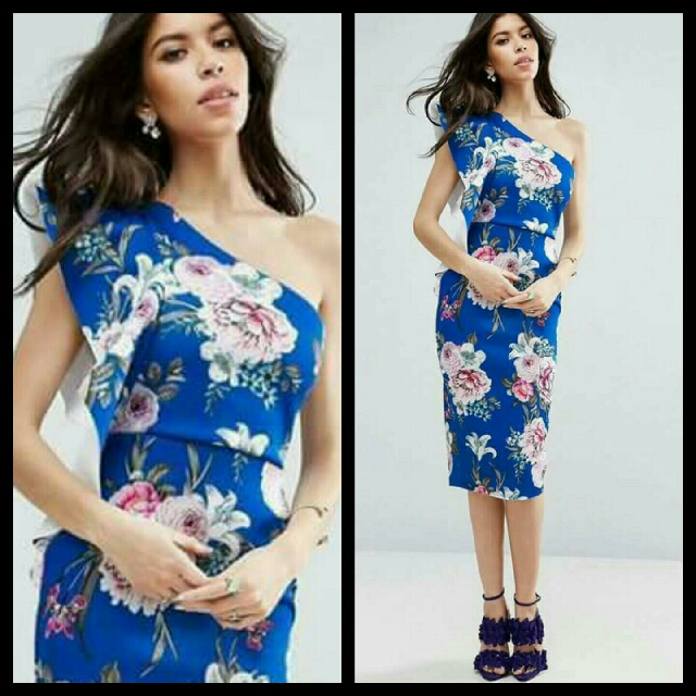 🎄 New! Sale Price!  🎁 Great Gift Idea   Php390 only!  3D FLORAL ONE SHOULDER DRESS  📍Milky Cotton fabric, stretch, thick, soft & comfy  📍1 color: Blue  📍Pre-order