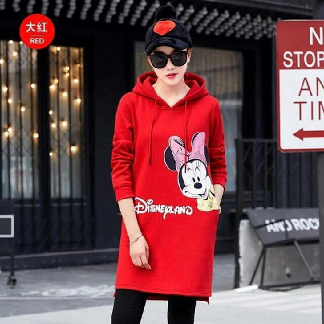 🎄 New! Sale Price!  🎁 Great Gift Idea   Php390 only!  Mickey Mouse Bubble Print Hoodie Dress 📍Freesize: Loose & Stretch style, fits Medium to XL  📍Available in 4 Colors: Pink/White/Black/Red 📍Pre-order