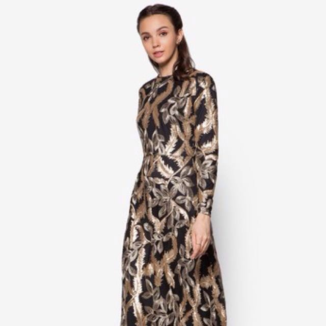 👭 Zalia Black Gold Embroidered Sequin Dress (RENTAL)