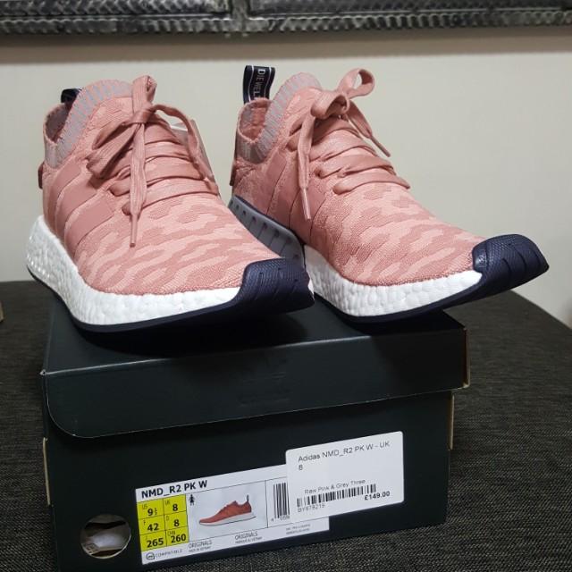f8c2f69b29c12 Adidas NMD R2 Raw Pink and Grey Three