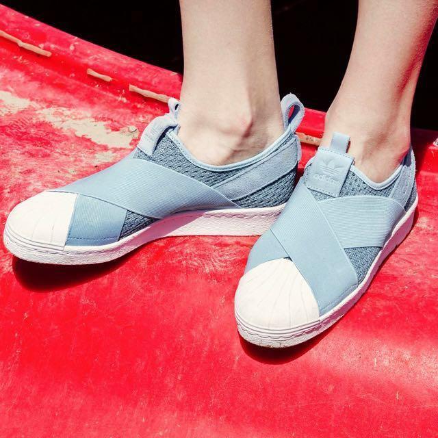 adidas slip on 粉藍 UK 6.5 (可議價)