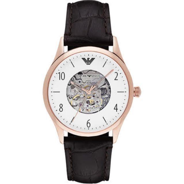 Armani紳士動能機械腕錶 –白面玫瑰金殼皮 (AR1920)
