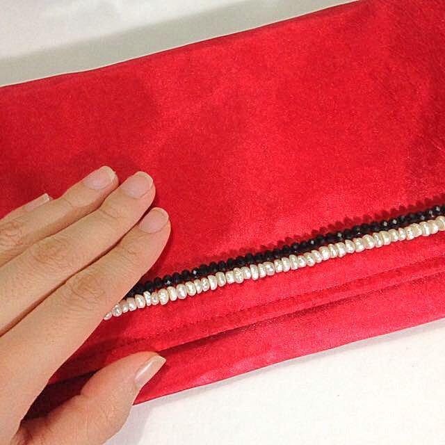Beaded Red Satin Evening Bag