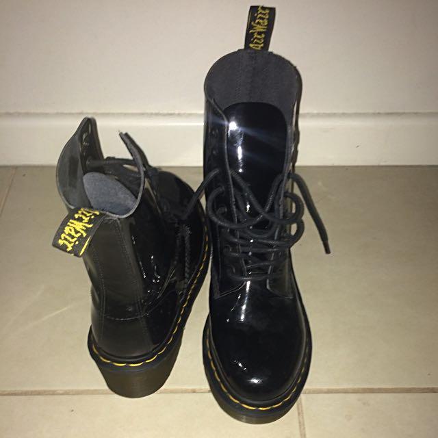 Black shiny heeled Doc Martens