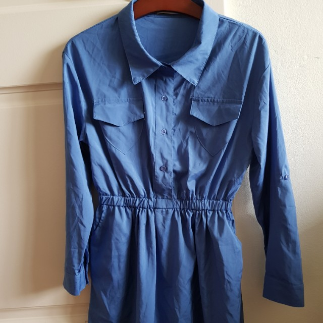 Blue military style dress with pockets (size L)