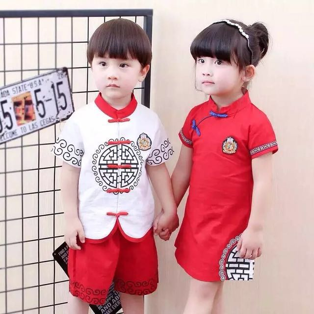 a750c82a2d34 Boy   Girl Matching Red Chinese Style Wear