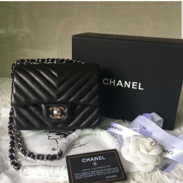 1f4ba6910b57 Chanel Chevron Mini 17cm - Lambskin in silver details