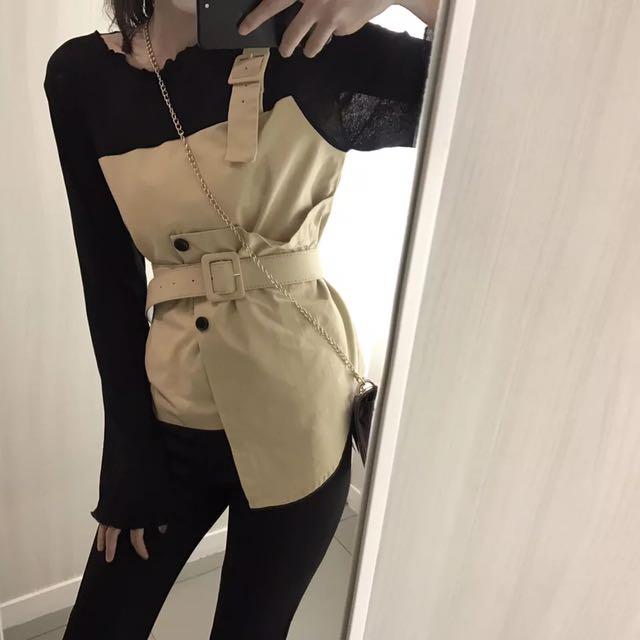 套裝💕復古港味chic風假兩件撞色長袖T恤衫+高腰開叉休閒褲氣質套裝女