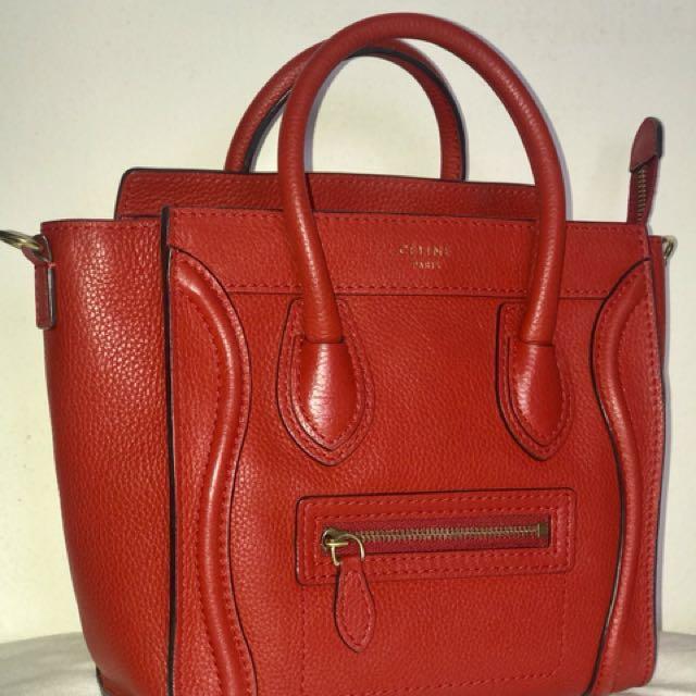1d025f13bb0f CÉLINE Red Nano Lambskin Luggage Bag