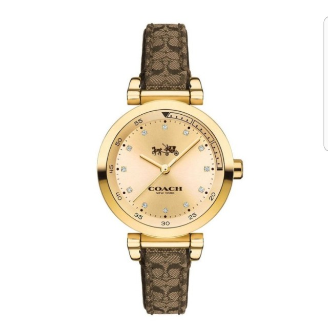 7d7c1bf032c Coach Watch Signature Brown Stainless-Steel Case Leather Strap ...