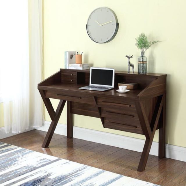 Contemporary Dark Walnut Home Office Table Writing Desk with Outlet Computer Desk