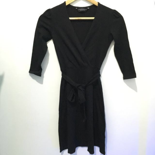 Dorothy Perkins Little Black Wrap Dress 3/4 Sleeve with Belt