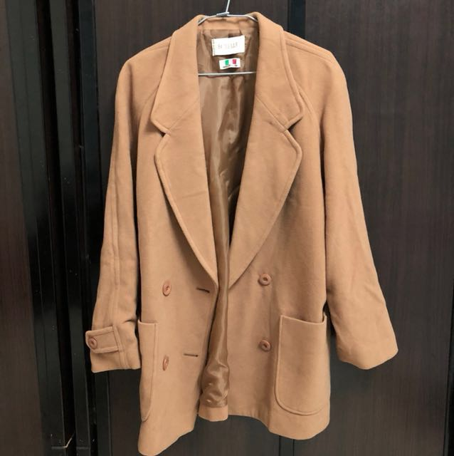 古著羊毛駝色西裝外套大衣elle