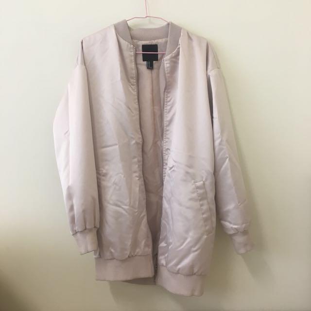 F21 嫩粉色中長版飛行外套