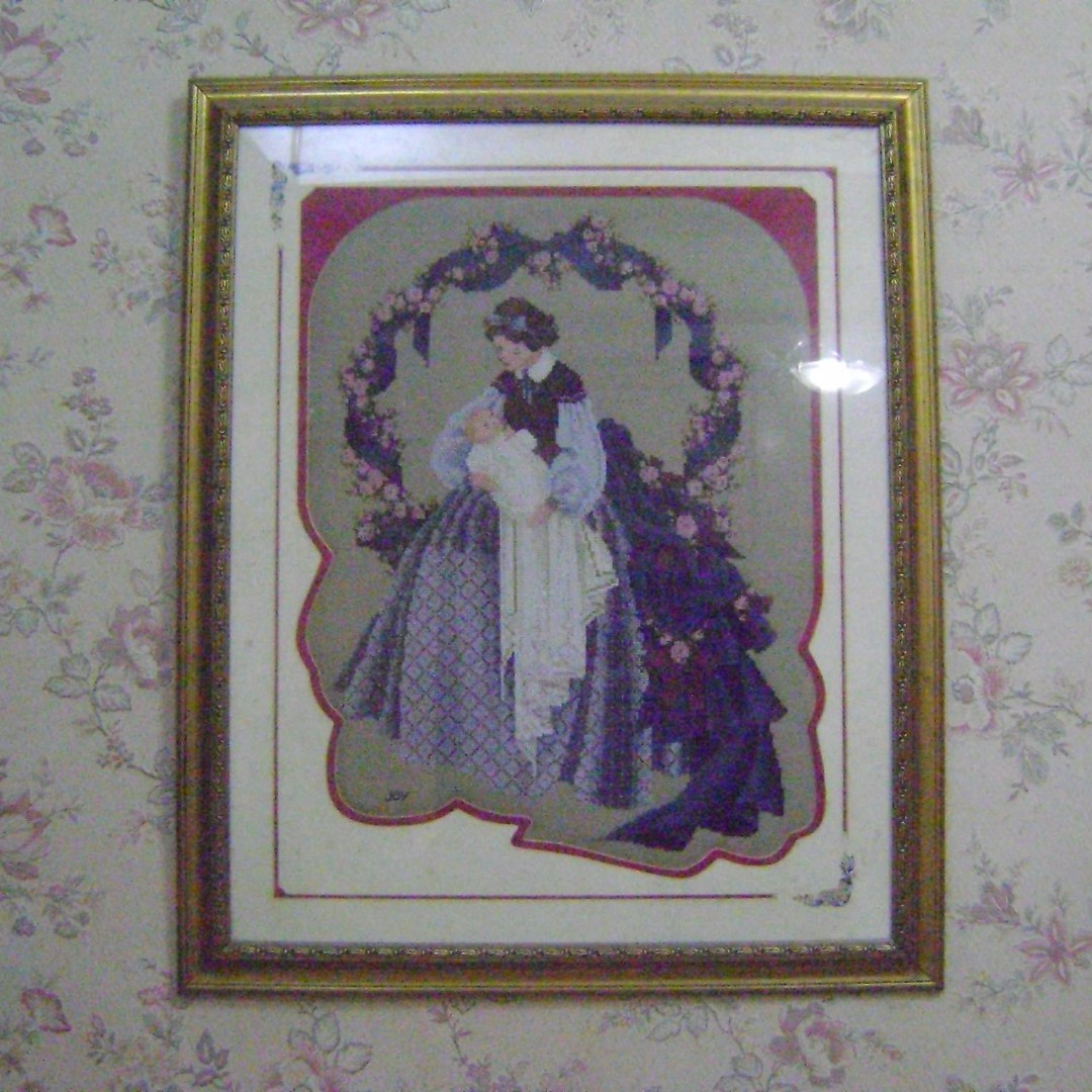 Framed Cross Stitch Mother & Child