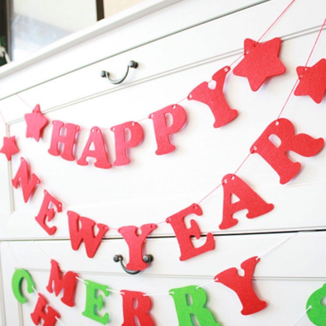*funibox*聖誕節新年快樂毛氈字母掛飾/party聚會店鋪節日櫥窗diy裝飾佈置(2款可選)