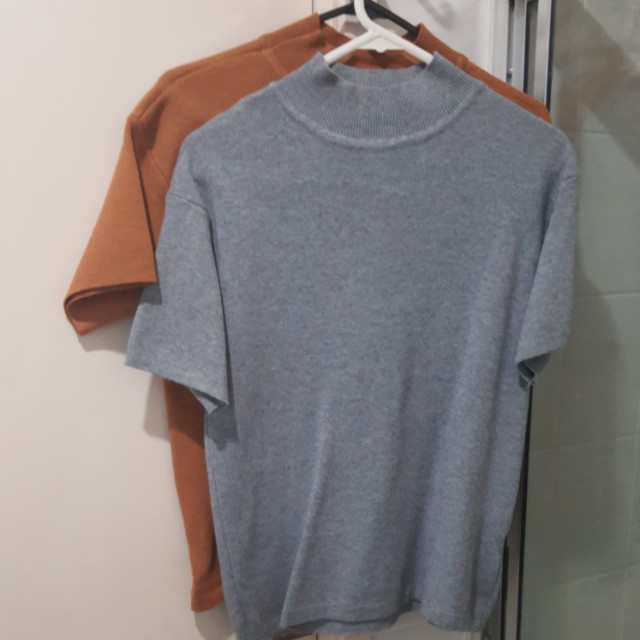 Grey and brown knit high necks
