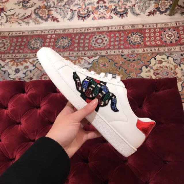 Gucci帶鑽蛇系列 小白鞋 英國代購
