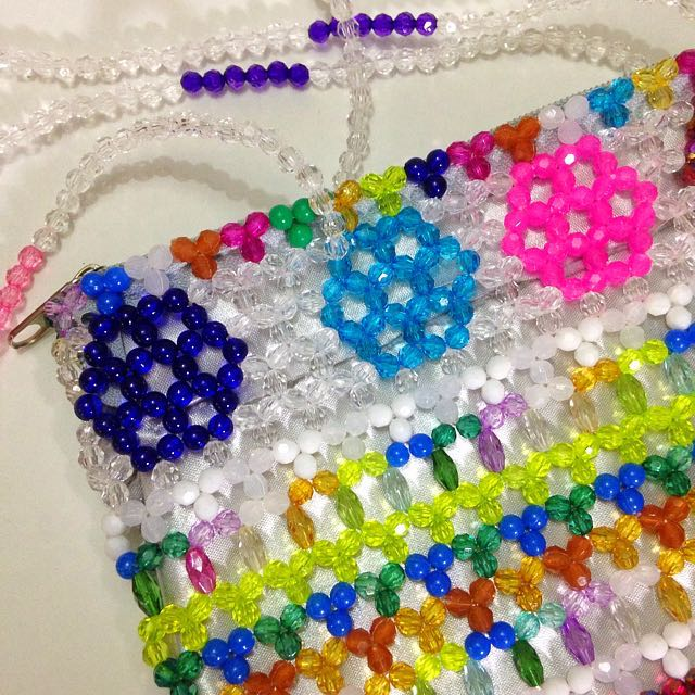 Handmade Rainbow Beaded Shoulder Bag