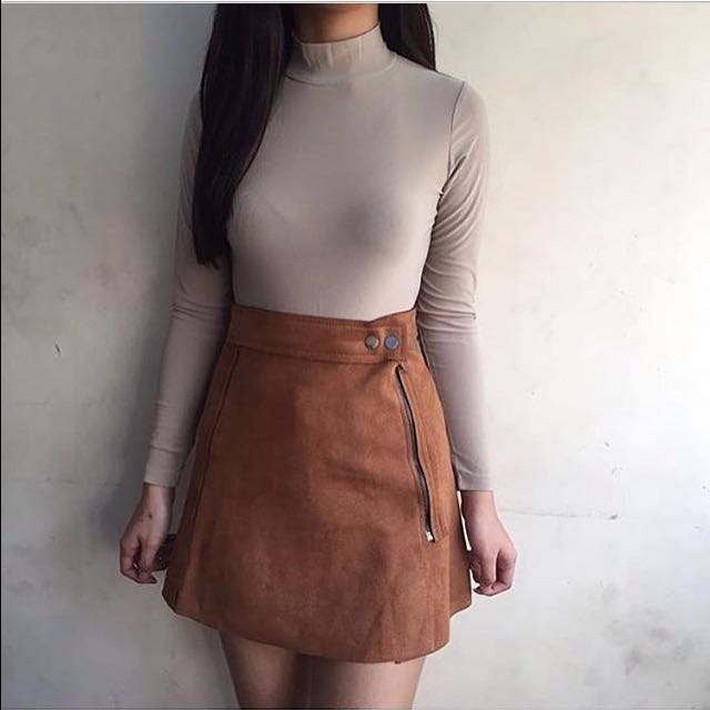 High Waist Suede Skirt (27-30)