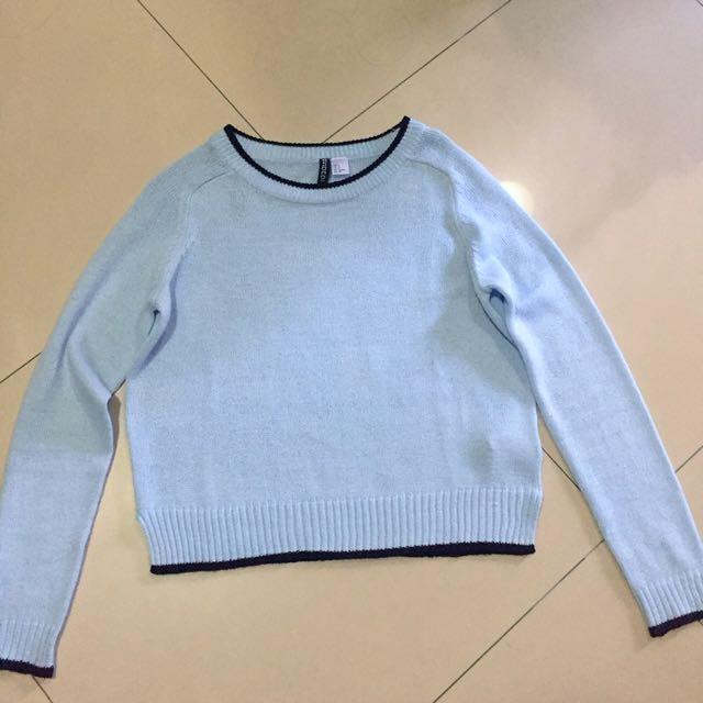 H&M 水藍色 毛衣 短版毛衣