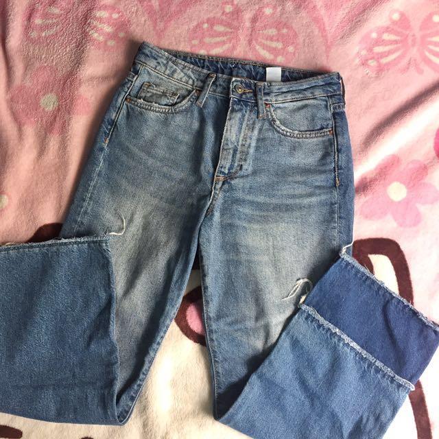 H&M Mom Jeans Fray Hem