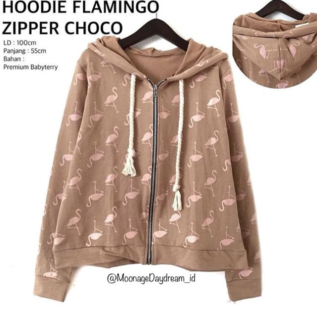 Hoodie Flamingo Zipper Choco