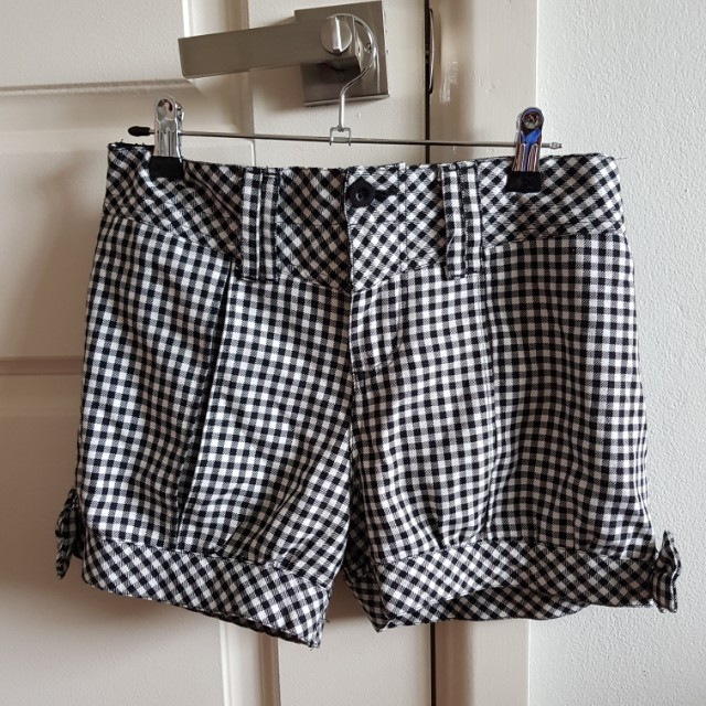 Japanese Black And White Checkered Ribbon Shorts Womens Fashion