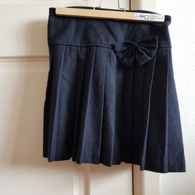 Japanese black wool winter skirt