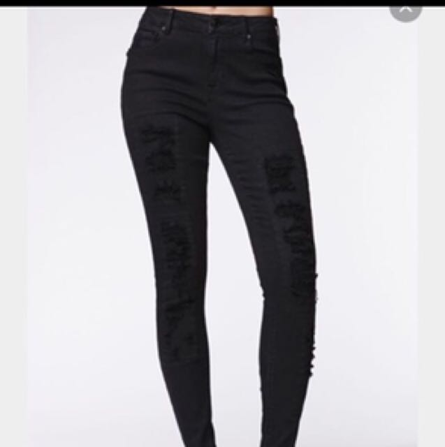 Kendall & Kylie black ripped jeans