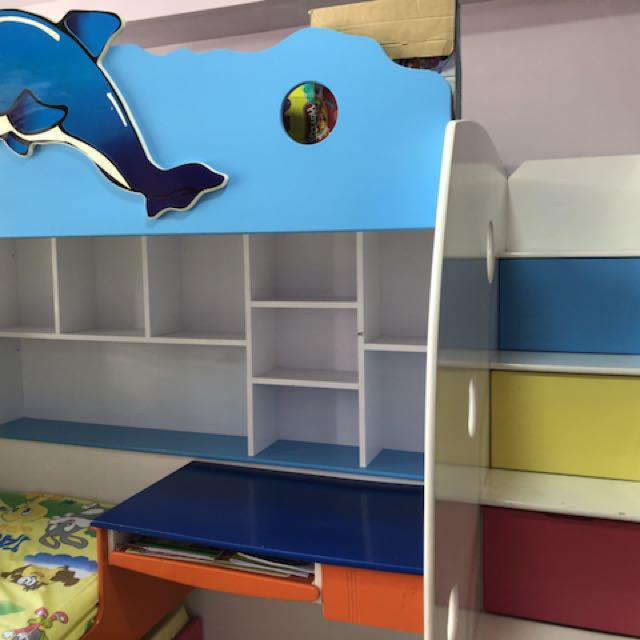 Kids Bunk Bed With Storage And Study Desk Furniture Beds