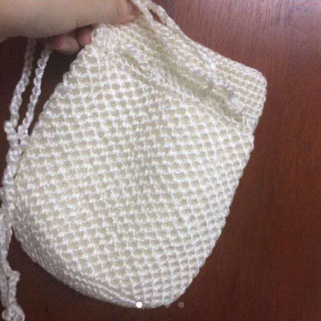 Knitted White Handy Bag