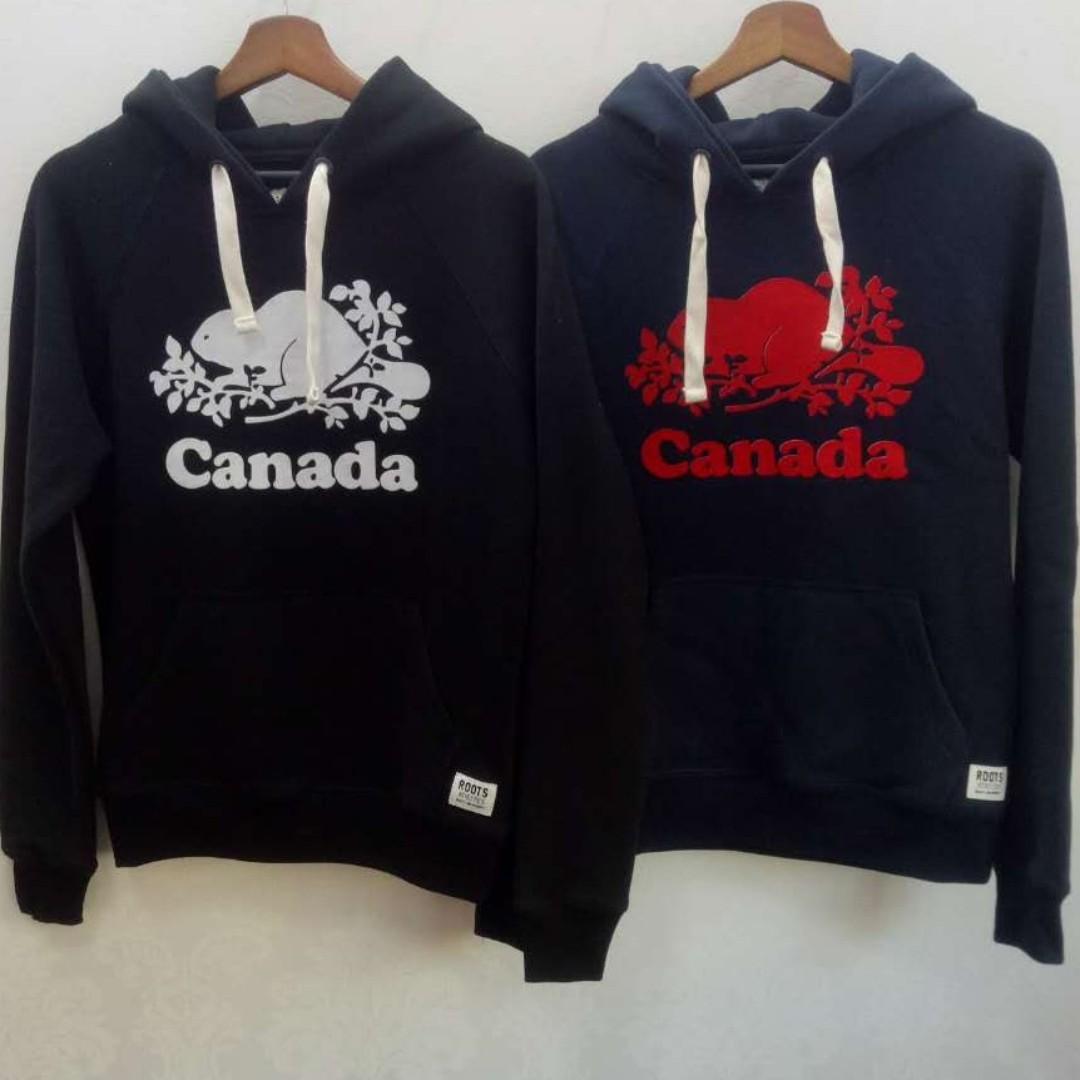 【LA 潮流】特價,真品! 加拿大海狸 ROOTS 植絨印花 男女情侶 運動休閒 舒適保暖 刷毛連帽上衣-3色 !