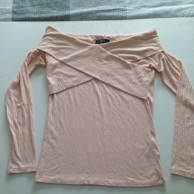 Light pink wrap ribbed long sleeve