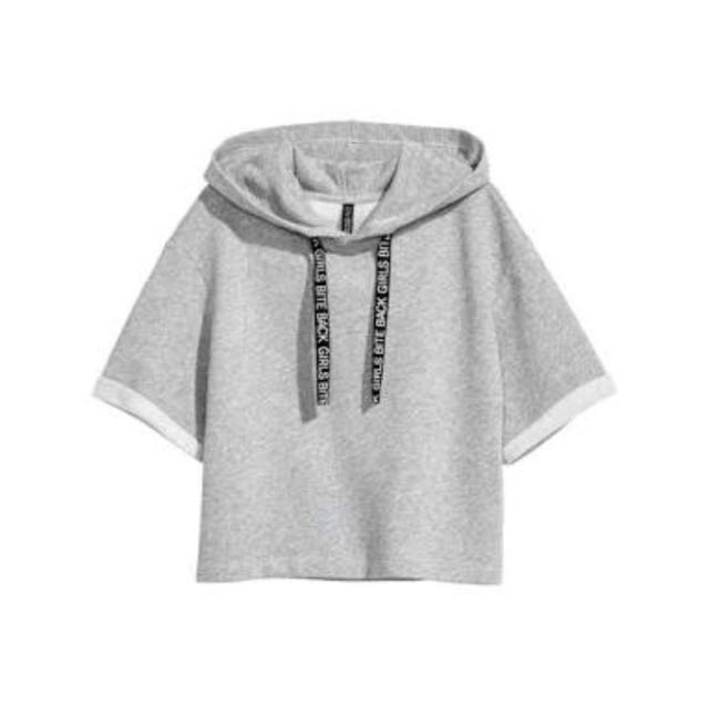 Looking For: Gray H&M Cropped Short-Sleeved Hoodie