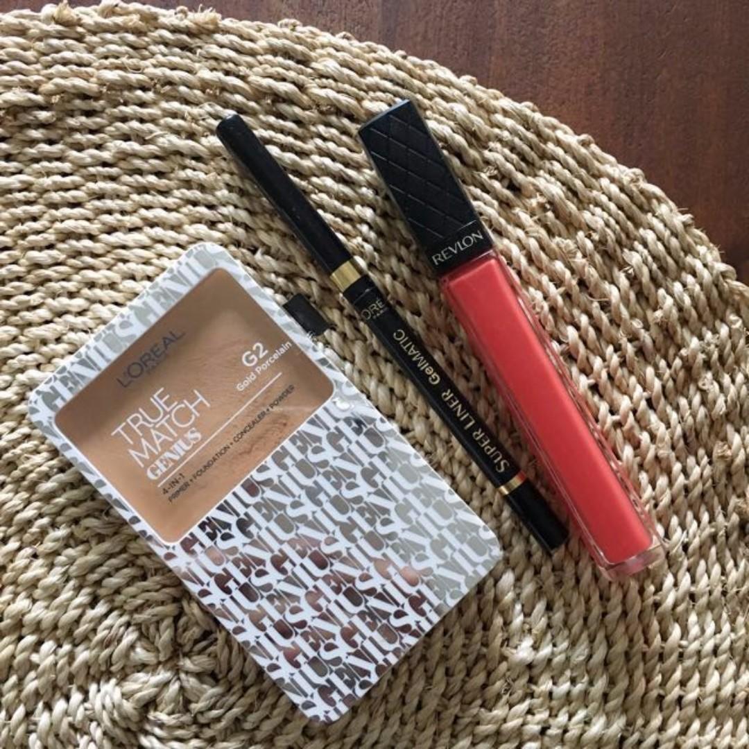 L'Oreal and Revlon Bundle: True Match Gold Porcelein G2, Super Liner Gelmatic, Revlon Lip Gloss Papaya