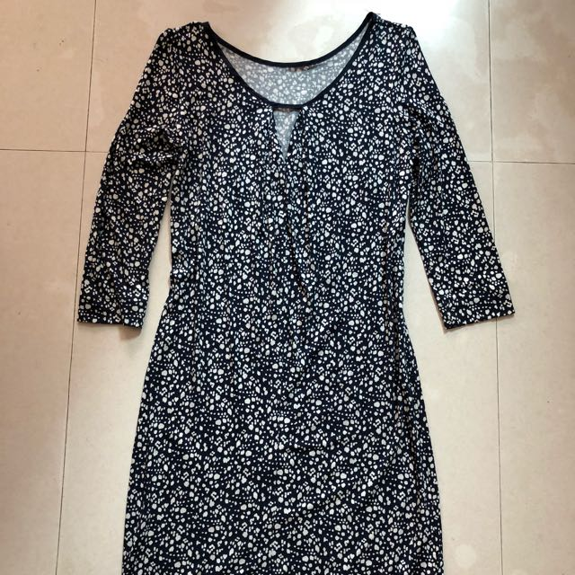 MANGO Casual Black&White Printed Dress (Size XS)