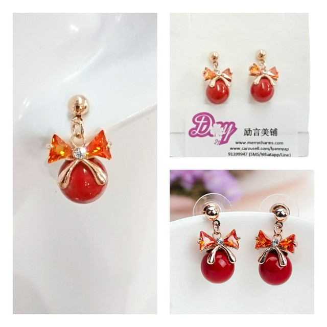"""[MerryCharms.com/Day 21] DY2113 """"Glitter Red"""" Earrings"""