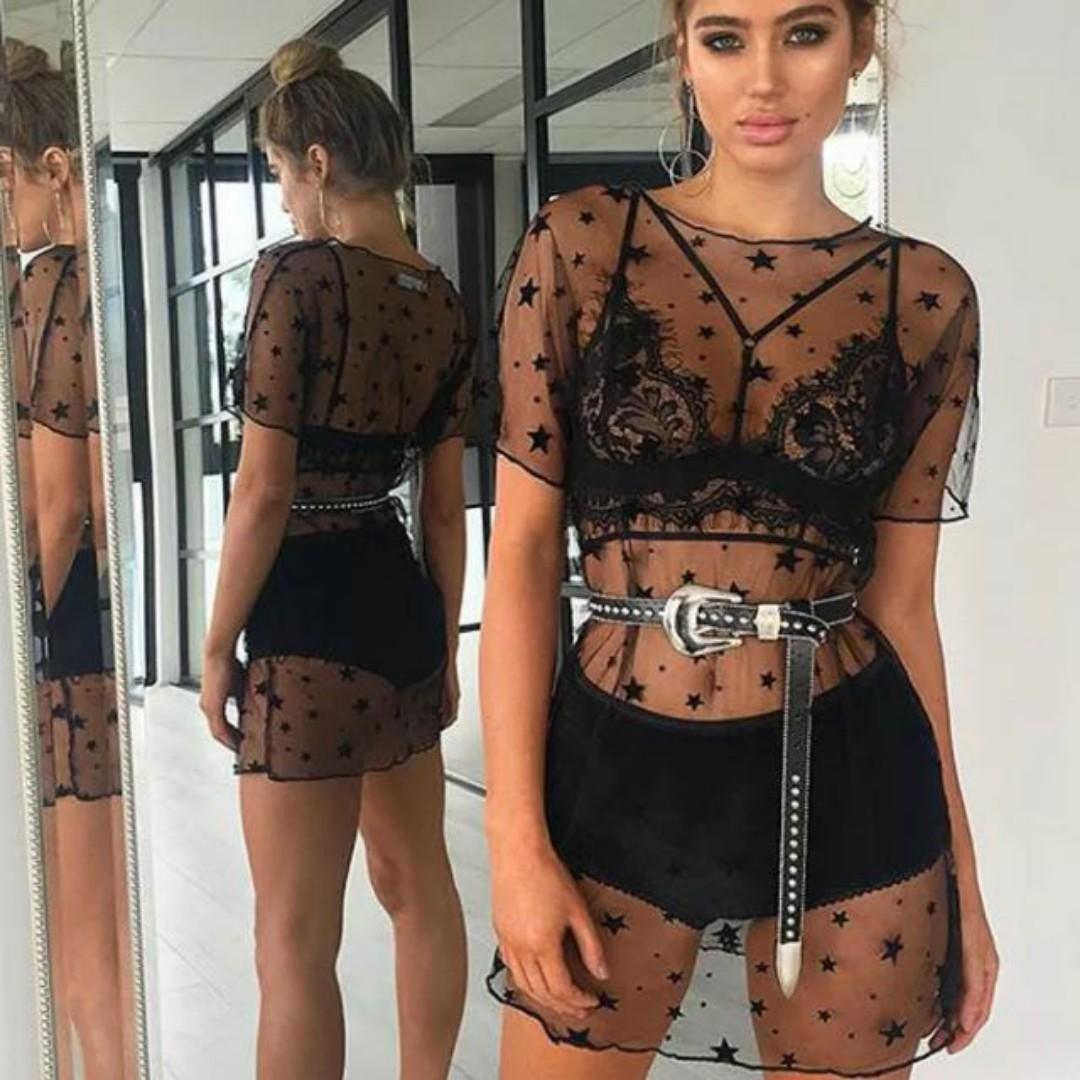 Mesh See-through Mini Star Galaxy Dress
