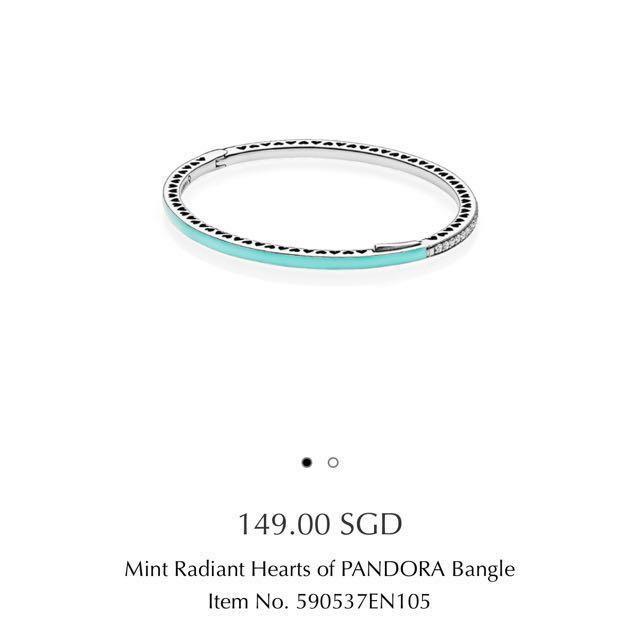 534eae874 Mint Radiant Hearts of PANDORA Bangle, Women's Fashion, Jewellery on  Carousell